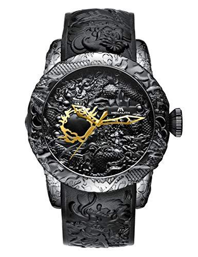 Herren Uhren Manner Wasserdicht Sport Groß 3D Designer Drachen Armbanduhr Mann Elegant Coole Modisch Besondere Analog Gummi Uhr