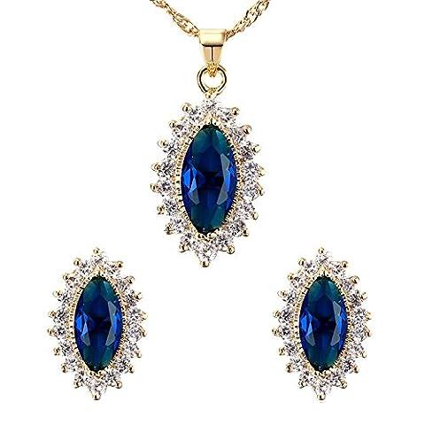 Contever® élégant Ladies Oval Bijoux Collier Artificial Sapphire et Boucles D'oreilles - Bleu