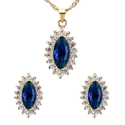 Contever® Elegante Gioielleria Set Compreso Collana Orecchini per Donne - Blu