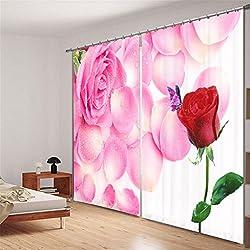 KKLL Cortinas Poliéster 3D Rosa Rosa AMO Impresión digital Decoración de la habitación de matrimonio Cortina de ruido de reducción de ruido Cortinas de ventana sólidas de la ventana para el dormitorio , 2 , wide 3.6x high 2.7