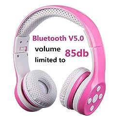 Bluetooth Kopfhörer für Kinder, Hisonic Kinderkopfhörer Faltbar, einstellbar, 85 dB Lautstärke begrenzt, AUX 3,5 mm Klinke, eingebautes Mikrofon für Mädchen. (Pink)