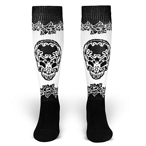 Eternal Fiesta | Socken von ROCKASOX | Schwarz, Weiß | Mexikanischer Totenkopf & Blumen | kniehoch | Unisex Strümpfe Size M (Kostüm Für Golf Herren)
