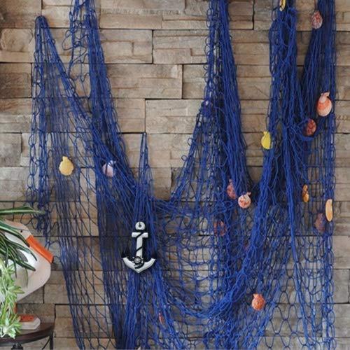 KING DO WAY Fischnetz mit Schöner Muscheln Anker mediterranen stil fischerei dekorative netze hintergrund Wand deko bar home decor Maritimes Deko Blau