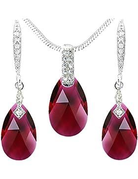 Neu Schickes rubinrotes Schmuckset in Tropfen Design - mit Swarovski Kristallen