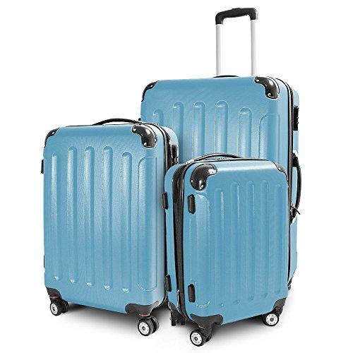 Kofferset 3-teilig Reisekoffer Trolley Hartschalenkoffer ABS Teleskopgriff (Himmelblau)