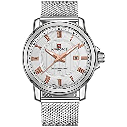 NAVIFORCE Men's Business Classic Stainless Steel Analogue Quartz Watch (White/Rose Gold)
