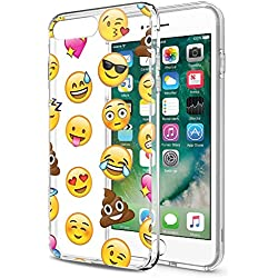 Funda iPhone 8 Plus, Funda iPhone 7 Plus Eouine Cárcasa Silicona 3d Transparente con Dibujos Suave Gel TPU [Antigolpes] Protector Case Cover Bumper Fundas Movil para Apple iPhone 7 Plus / 8Plus - 5,5 Pulgadas (Emoji)