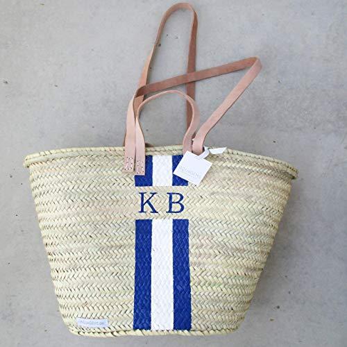 Personalisierbare Korbtasche mit Monogramm - Blau - Weiß - Helle Henkel | Weihnachtsgeschenk -