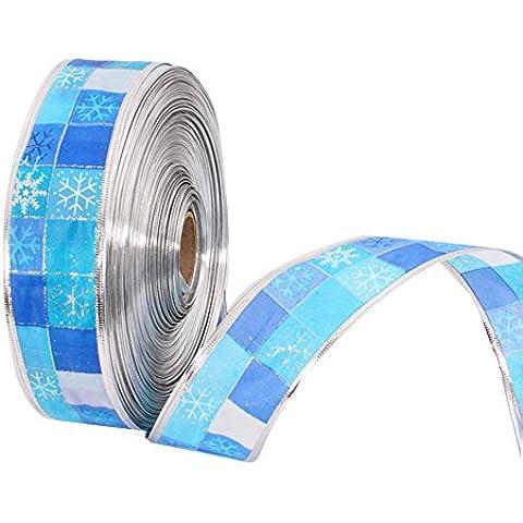 Surker de Navidad copo de nieve azul de la cinta 2 Yardas