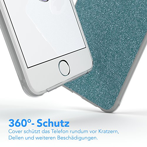 "iPhone 8 Hülle / iPhone 7 Hülle - EAZY CASE Slimcover ""Henna"" Handyhülle für Apple iPhone 7 & iPhone 8 - Flexible Schutzhülle mit Indischer Sonne Optik in Weiß / Transparent Hellblau"