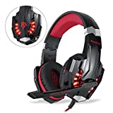 EasySMX Gaming Headset für PS4 Xbox One PC, Gaming Kopfhörer mit Mikrofon, LED Light Bass Surround,Aluminiumgehäuse für Computer Laptop Mac Nintendo Switch Spiele