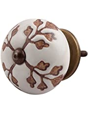 Indian-Shelf Handmade Ceramic Leaf Cut Flower Drawer Knobs Etched Furniture Pulls Cabinet Handle(Brown, 1.5 Inches)-Pack of 2