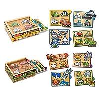 Melissa & Doug Wooden Mini-Puzzle Set With Storage and Travel Case