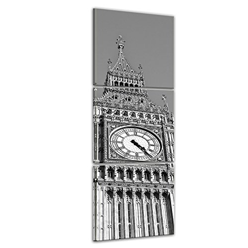 Wandbild - Big Ben sw - Bild auf Leinwand 30 x 90 cm 3tlg - Leinwandbilder - Bilder als Leinwanddruck - Städte & Kulturen - Europa - England - Big Ben in schwarz weiß
