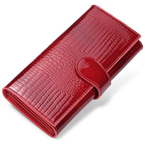 Red Tri-fold Wallet (JEEBURYEE RFID Leder Geldbörse Clutch Portemonnaie Damen Portmonee mit Knopf Lange Groß Karten Brieftasche Damen Handtasche Geldbeutel für Frauen Geldbörsen Rot)