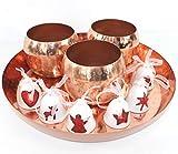 Set Adventsgesteck Tablett Kupfer + 3 Teelichthalter + 6 Glöckchen ~VDs 228