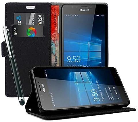 Etui coque Housse Stand Portefeuille Noir Pour Nokia Lumia 1320 + Film Verre Durci 9H + Stylet Cadeau