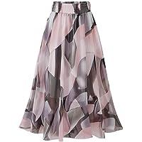 Rosatro Women Maxi Skirts Ladies Plain Knee Length Ladies Soft Stretch Flared Printed Skater Skirt