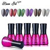 Beau Gel Holografische Hues Nagellack, 6 bunte Rainbow Soak Off Holo Nagellack Set 7 ml Langlebig Shimmer Nail Art Maniküre # 02