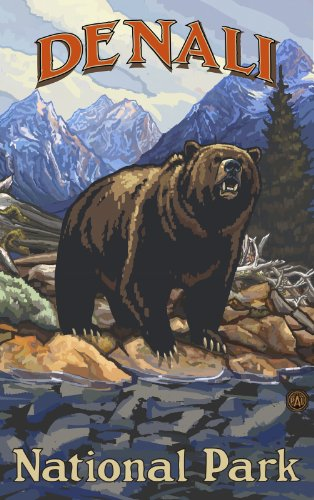 northwest-art-mall-denali-national-park-grizzly-on-bank-artwork-by-paul-a-lanquist-11-by-17-inch