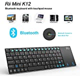 Rii Mini K12 Teclado Bluetooth Inalámbrico con Multi-touchpad Para PC, Smart TV,Tablet,Smartphone QWERTY español)incluye Ñ (Rii mini K12 Bluetooth)