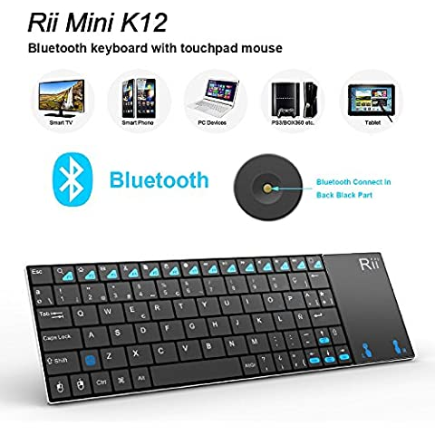 Rii Mini K12 Teclado Bluetooth Inalámbrico con Multi-touchpad Para PC, Smart TV,Tablet,Smartphone QWERTY español)incluye Ñ (Rii mini K12