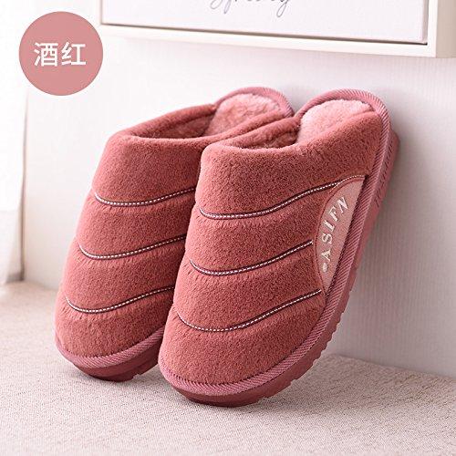 DogHaccd pantofole,Autunno Inverno soggiorno coppie uomini pantofole di cotone spessa coperta indossare caldo antiscivolo pavimento in legno pantofole Il vino è di colore rosso3