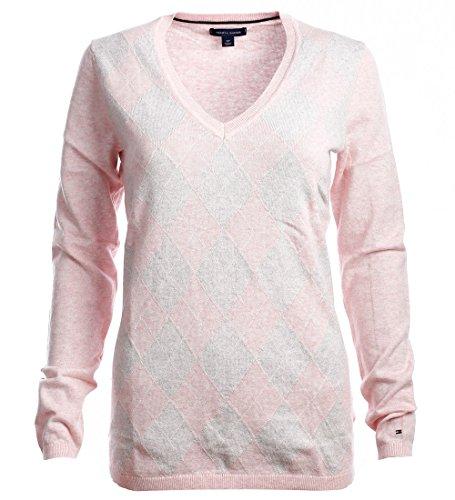 Tommy Hilfiger Damen V-Neck Pullover Argyle rosa-grau Größe S (Grau Rosa Argyle)
