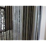Cortina de hilos divisoria gota de rocío negro/plata gris o ventana cortina Panel 90x 240cm) perfecto como mosquitera
