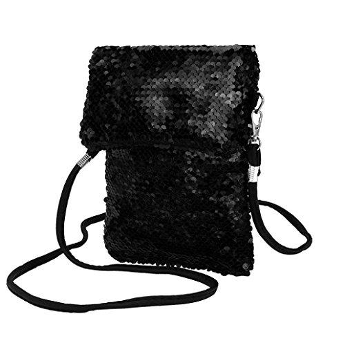 Longra Damen Handy Umhängetasche Pailletten Universal Handytasche zum Umhängen Geldbörse Kleine Handtaschen für Frauen Mädchen Kinder Geldbeutel Portemonnaie Schultertasche Phone Tasche (Black)