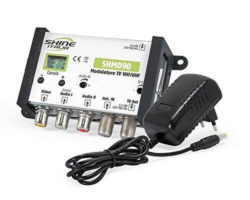 Modulatore RF VHF/UHF Livello di Uscita Fino a 90 dBμV Regolabile - Made in Europe + Alimentatore 12V