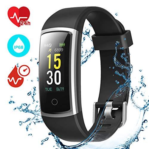 CHEREEKI Fitness Tracker, Orologio Fitness Braccialetto Pressione Sanguigna Cardiofrequenzimetro da Polso Impermeabile IP68 Smartwatch Contapassi Calorie Corsa Sport Watch