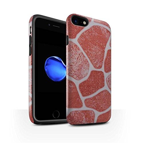 STUFF4 Glanz Harten Stoßfest Hülle / Case für Apple iPhone 8 / Steinboden/Orange Muster / Stein/Rock Kollektion Steinboden/Rot