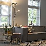 QAZQA Design/Modern Deckenfluter mit Leseleuchte Stahl/Silber/nickel matt - Divo Dimmer/Dimmbar/Innenbeleuchtung/Wohnzimmerlampe Stahl Rund/Länglich / (nicht austauschbare) LED Max. 1 x 22