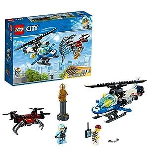 LEGO City PoliziaAereaall'InseguimentodelDrone, Elicottero Giocattolo con Lancia-reti,Set di Costruzioni per Bambini, 60207 5702016369564 LEGO
