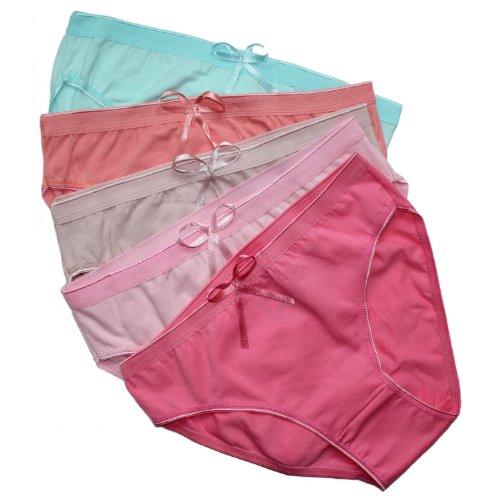 5er Vorteilspack Damen Slips Unterhosen aus Baumwolle Damen Pantys, Farbe: Farbmix 1 / Bunt, Größe: 40,(HerstellerGröße:4)