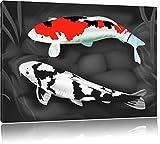 Drawn Carpa Koi nero / bianco Formato: 100x70 su tela, enorme XXL Immagini completamente Pagina con la barella, stampa d'arte su murale con la struttura, più economico di pittura o pittura ad olio, nessun manifesto o poster