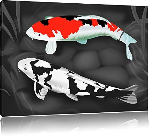 Gezeichnete Koi Karpfen schwarz/weiß Format: 60x40 auf Leinwand, XXL riesige Bilder fertig gerahmt mit Keilrahmen, Kunstdruck auf Wandbild mit Rahmen, günstiger als Gemälde oder Ölbild, kein Poster oder Plakat (Koi Glücklich)