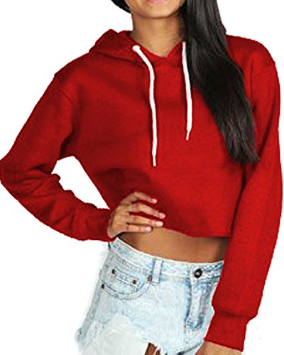 Ladies Womens Girls Crop Hoodie New Cropped Hooded Hoody Sweatshirt Plain Jumper Heavy Sweat Pullover Tops Sizes 6-12