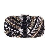 High-End-Hand-genäht Perlen Handtasche Mode Roten Teppich Party Kleid Kleine Quadratische Tasche (Farbe : SCHWARZ)