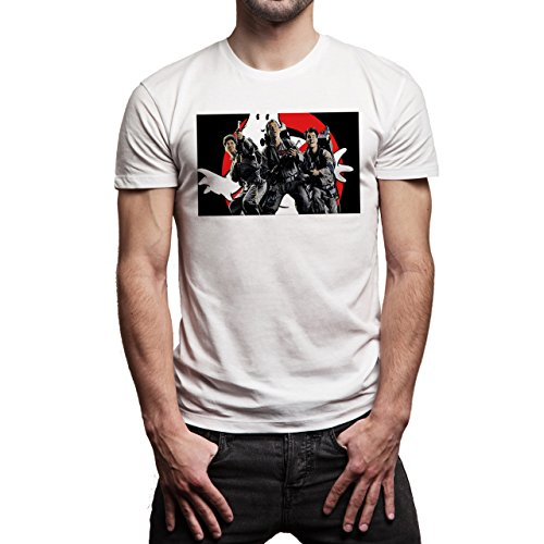 Ghost Busters Oldschool Movie Art Logo Vector All Teams Is Rady For The fight Background Herren T-Shirt Weiß