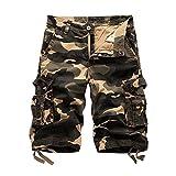ZiXing Herren Cargo Shorts Camo Bermuda Kurz Hose Camouflage Sommerhose Loose Fit khaki 31