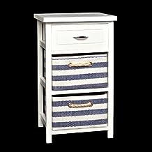 Cómoda rústica blanca con cestas azul y blanco ,mesita de noche o mueble para el baño