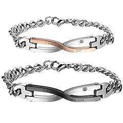 Idea Regalo - Cupimatch coppia lovers braccialetto bracciale acciaio inox mosaico zircone infinito