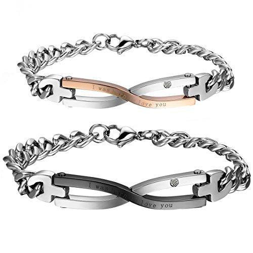 9395febb9ee8 Cupimatch Pulseras de cadena de eslabones de acero inoxidable