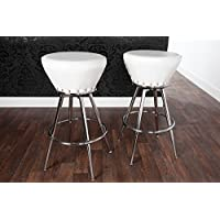 Casa Padrino designer barstool artificial leather white, padded barstool (Leather Club Chair)