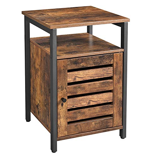 VASAGLE Nachttisch, Nachtschrank mit Ablage, Schlafzimmer, Wohnzimmer, 40 x 40 x 60 cm, Metall, Industrie-Design, Vintage, Dunkelbraun LET62BX