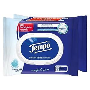 Tempo Toilettenpapier feucht Sanft und Pur Duo-Pack, 84 Tücher