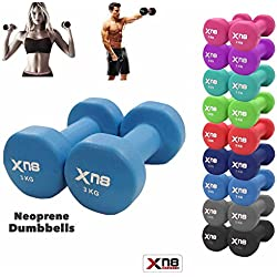 Neoprene Dumbbell Set 1 kg 2 kg 3 kg 4 kg 5 kg 6 kg 8 kg 10 kg Pair Ladies Gents Aerobic Weights Fitness Body Pilates, Light Blue, 3 kg Set, 3 x 2 = 6 kg