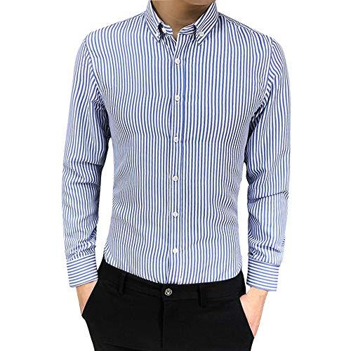 Challenge camicia uomo, uomo camicia a righe con bottoni maglietta slim fit elegante camicetta pullover casual maglia a maniche lunghe t-shirt pullover top autunno inverno